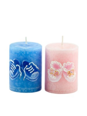 """Hand painted candle """"Little steps"""""""