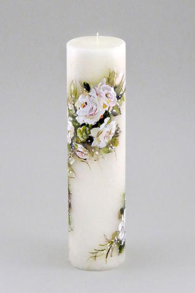 """Käsitsi maalitud pulmaküünal """"Vintage roosid"""""""