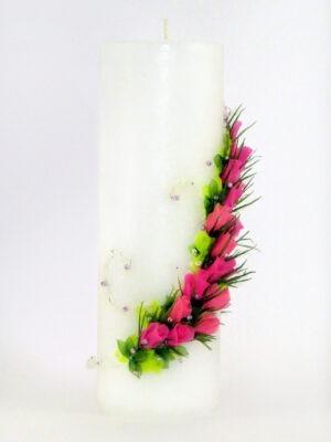 """Käsitsi valmistatud pulmaküünal """"Elu on lill"""""""