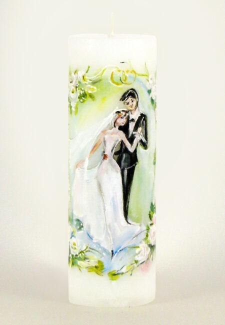 """Käsitsi maalitud pulmaküünal """"Pulmavalss"""""""
