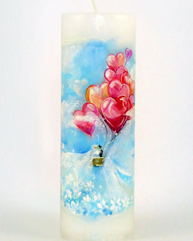 """Käsitsi maalitud pulmaküünal """"Reis läbi elu"""""""