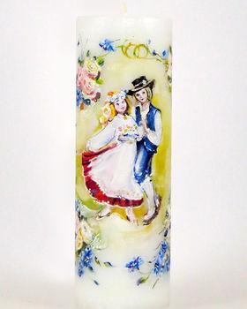 """Käsitsi maalitud pulmaküünal """"Lilleke rohus"""""""