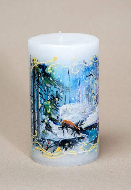 Käsitsi maalitud küünal Talvine maastik kitsega