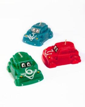 ralliauto küünal, punane, roheline ja sinine