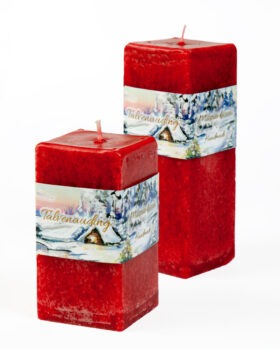 """Candle """"Cube"""" with winter holiday scent, handmade red"""