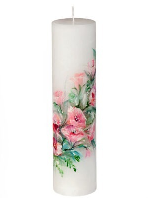 """Handpainted wedding candle """"Happiness for life"""""""