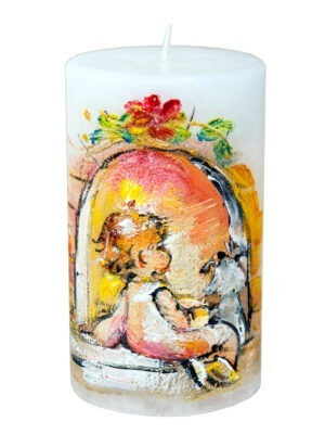 Handpainted candle Christmas expectation
