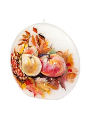 """Maalitud küünal """"Sügis ja õunad"""""""