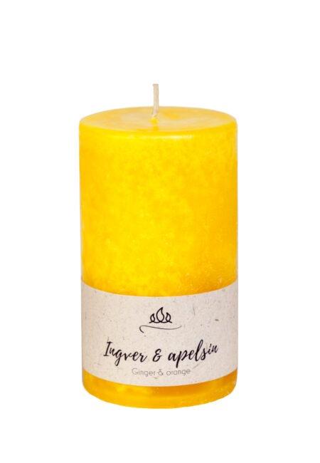 Ingver & apelsin lõhnaküünal, kollane, käsitöö.
