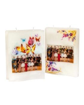 Pildi ja pühendusega käsitsi maalitud raamatukujuline kahe tahiga küünal õpetajale või lasteaia kasvatajale. Võhma Valgusevabrik.