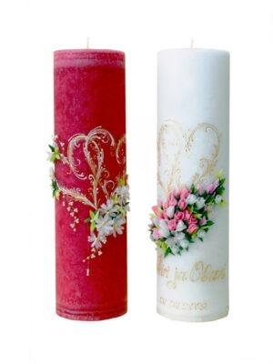 """Käsitsi valmistatud pulmaküünal """"Romantiline lillevanik"""""""