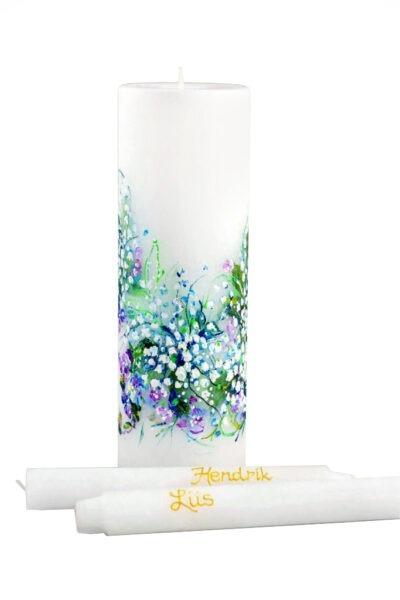 Käsitsi maalitud pulmaküünal Kevadine pärl