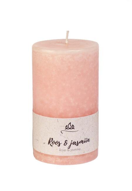 Roos & jasmiin lõhnaküünal, õrnroosa. käsitöö.