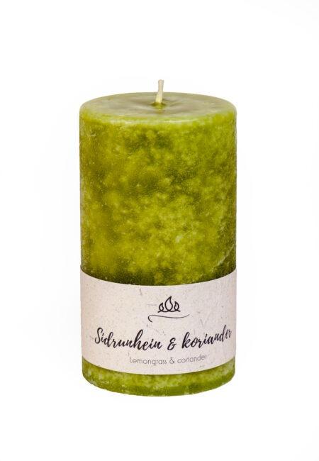 Sidrunhein koriander, lõhnaküünal, käsitöö oliivroheline